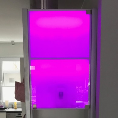 Upper cabinet compartments with frosted glass and LED backlight